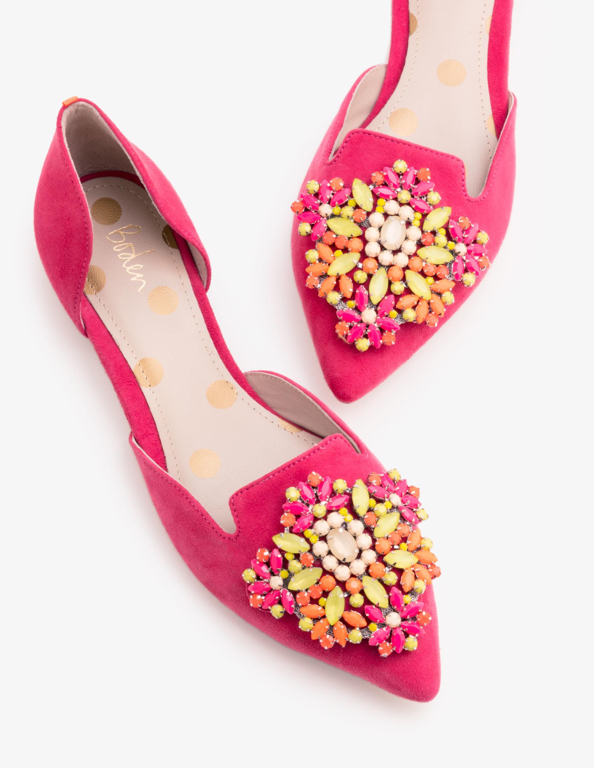 Leah Flache Schuhe mit Schmucksteinbesatz Pink Damen Boden 38 NDX0XPQ7Gg