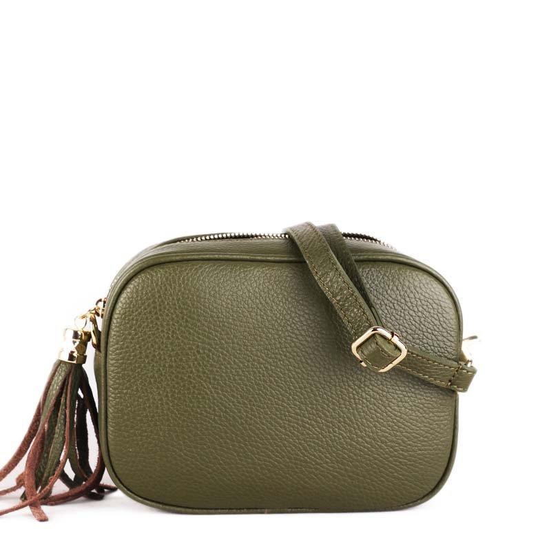 Talianske kožené kabelky dámske športové crossbody malé Kasandra zelené 8c32a1745c5