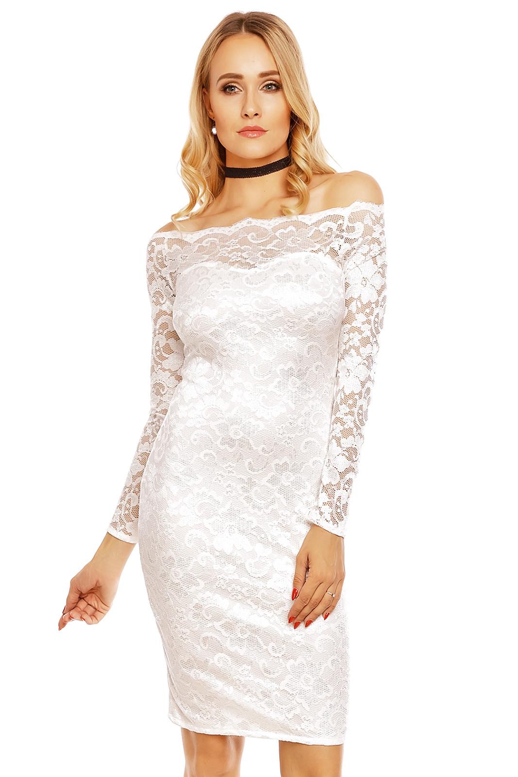 75d88c3eecb Dámské společenské šaty MAYAADI krajkové s dlouhým rukávem krátké bílé