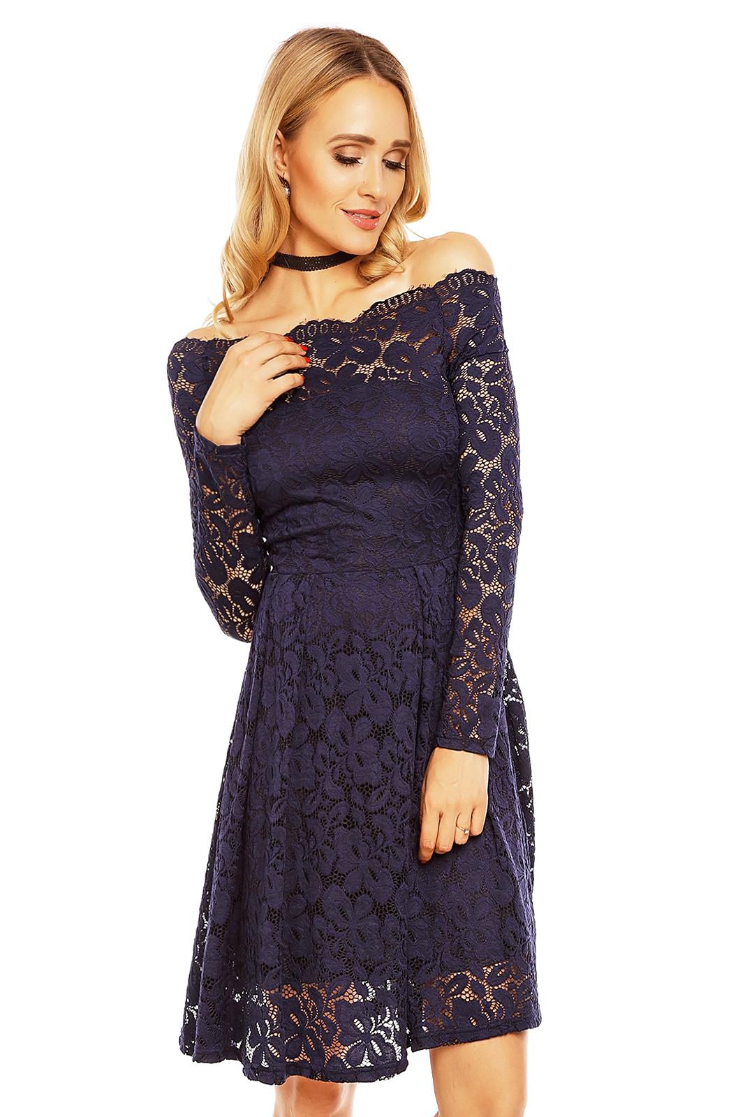 59446178895a MAYAADI Dámské krajkové šaty s dlouhým rukávem a lodičkovým výstřihem tmavě  modré
