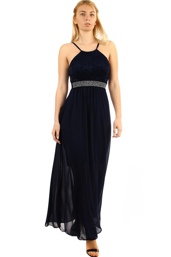 Glara Šifónové šaty s čipkou na ples s úzkymi ramienkami - Glami.sk 1a165c31d9