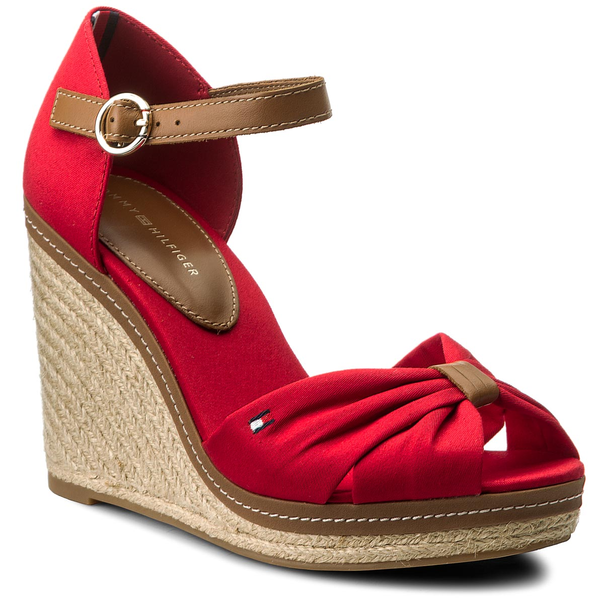Espadrilles TOMMY HILFIGER - Iconic Elba Sandal FW0FW00906 Tango Red 611