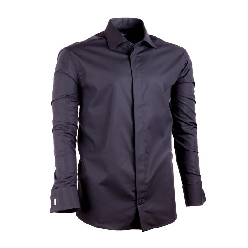 Černá pánská košile na manžetový knoflík Assante 30150 - Glami.cz 90a750825e