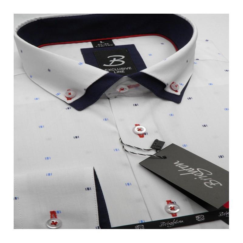 addf560034e5 Bílá pánská košile dlouhý rukáv s dvojitým límcem Brighton 109964 ...