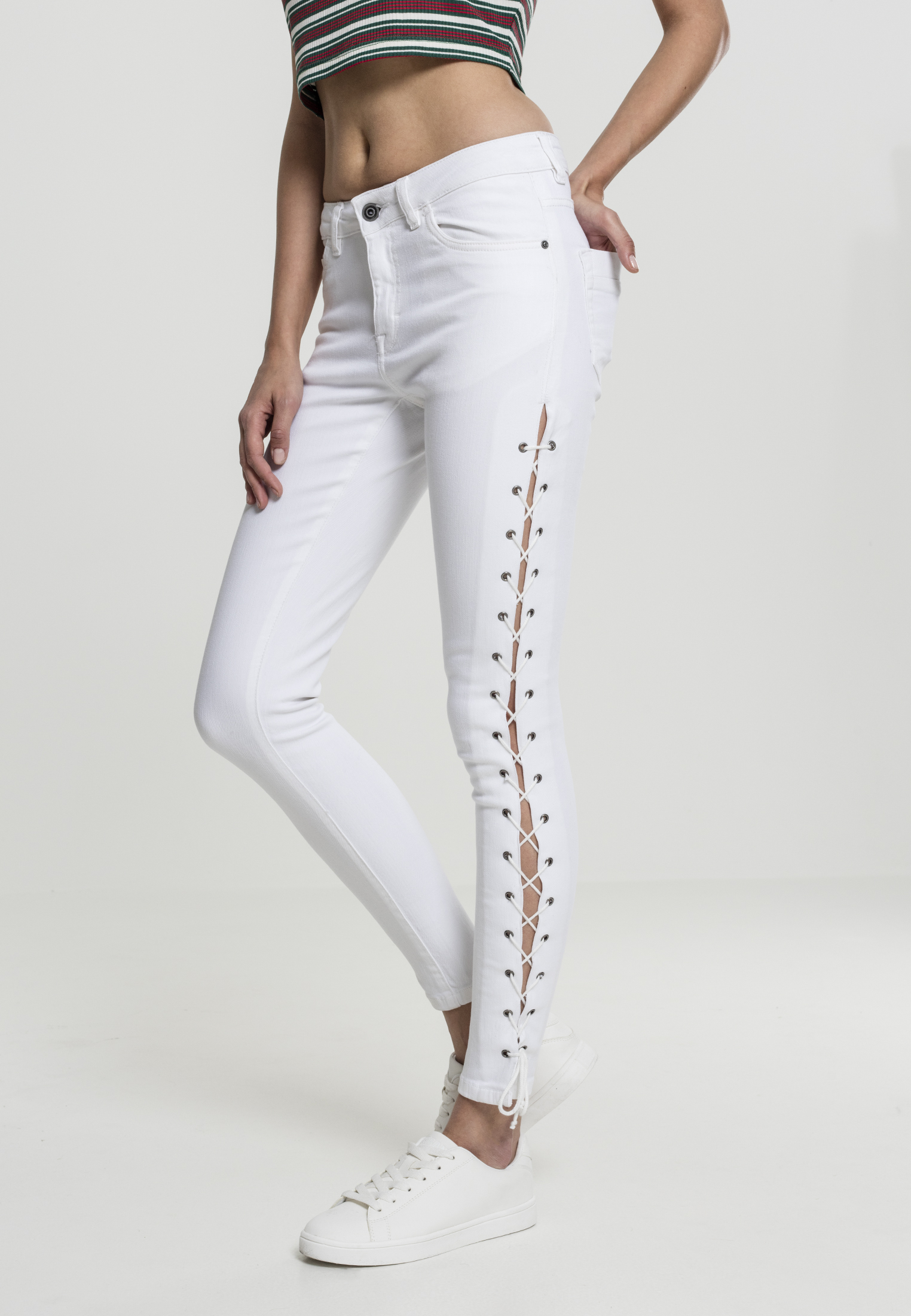 142f37ac01b6 Dámske rifle URBAN CLASSICS Ladies Denim Lace Up Skinny Pants WHITE ...
