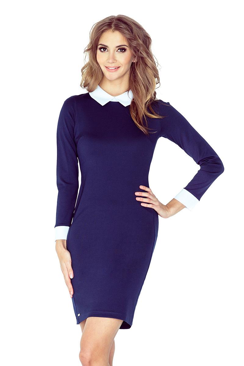 numoco Dámské společenské šaty s bílým límečkem a dlouhým rukávem tmavě  modré. 1 868c6ad438
