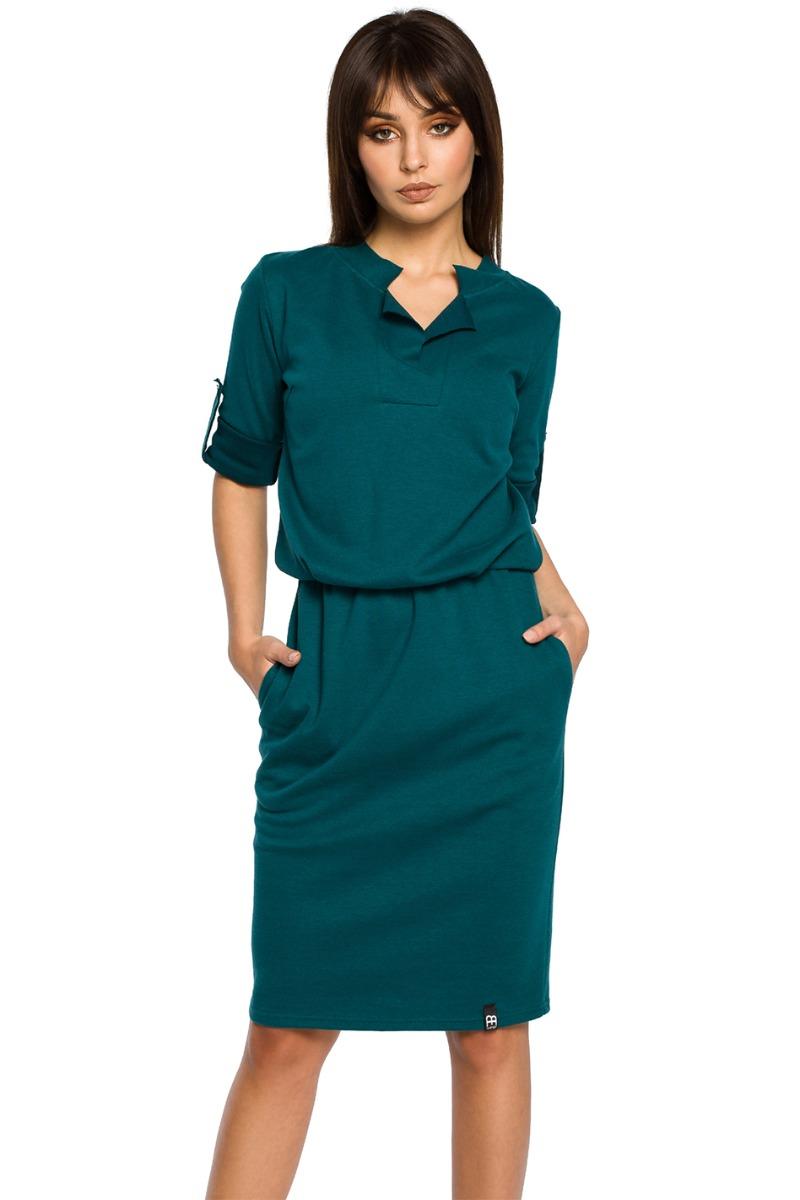 a7aa000d83a4 Tmavě zelené šaty BE 056 - Glami.cz