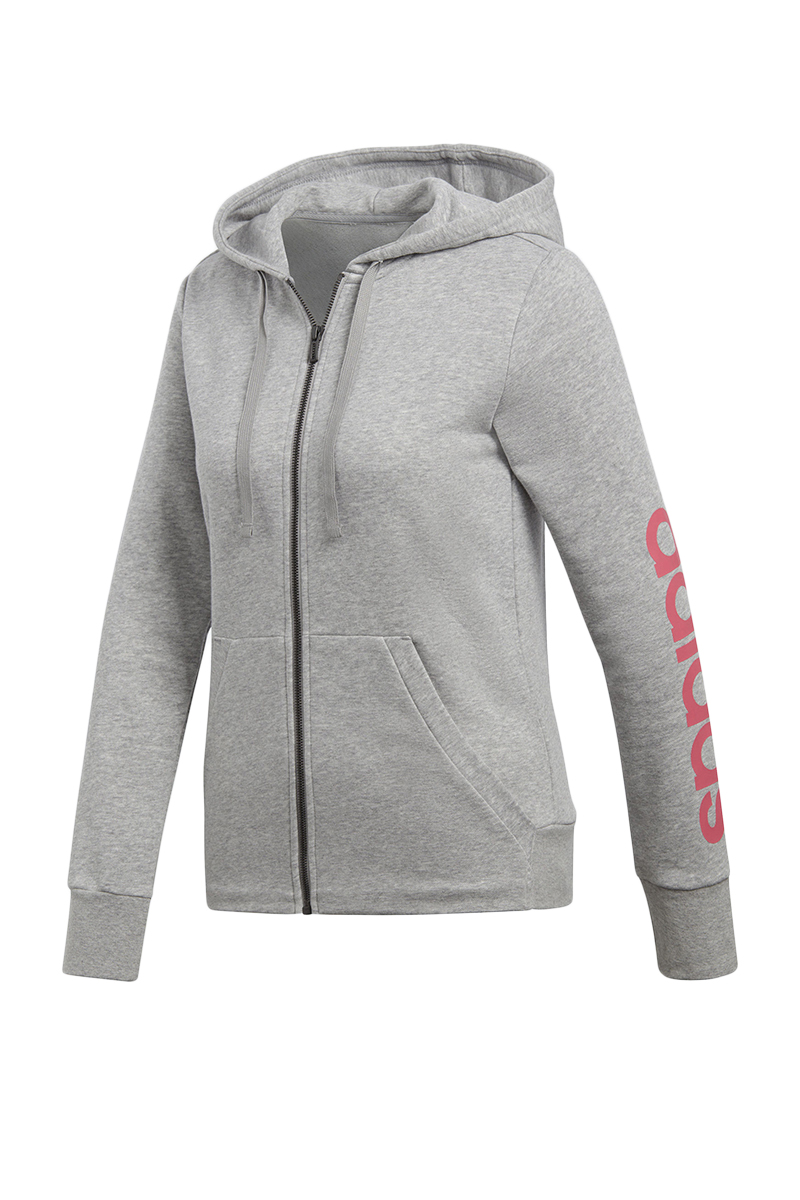 87698c1e0e49 adidas PERFORMANCE Dámská šedá mikina Essentials Linear Full Zip Hoodie. 1