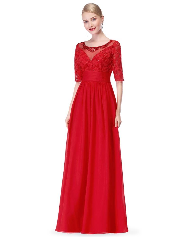 Ever-Pretty Červené večerní šaty se zdobeným živůtkem - Glami.cz 2e211abda2