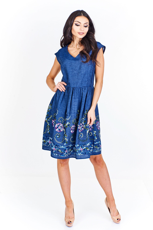 Jeansové šaty bavlněné Martex s květinami 38 - Glami.cz 6626326e5a