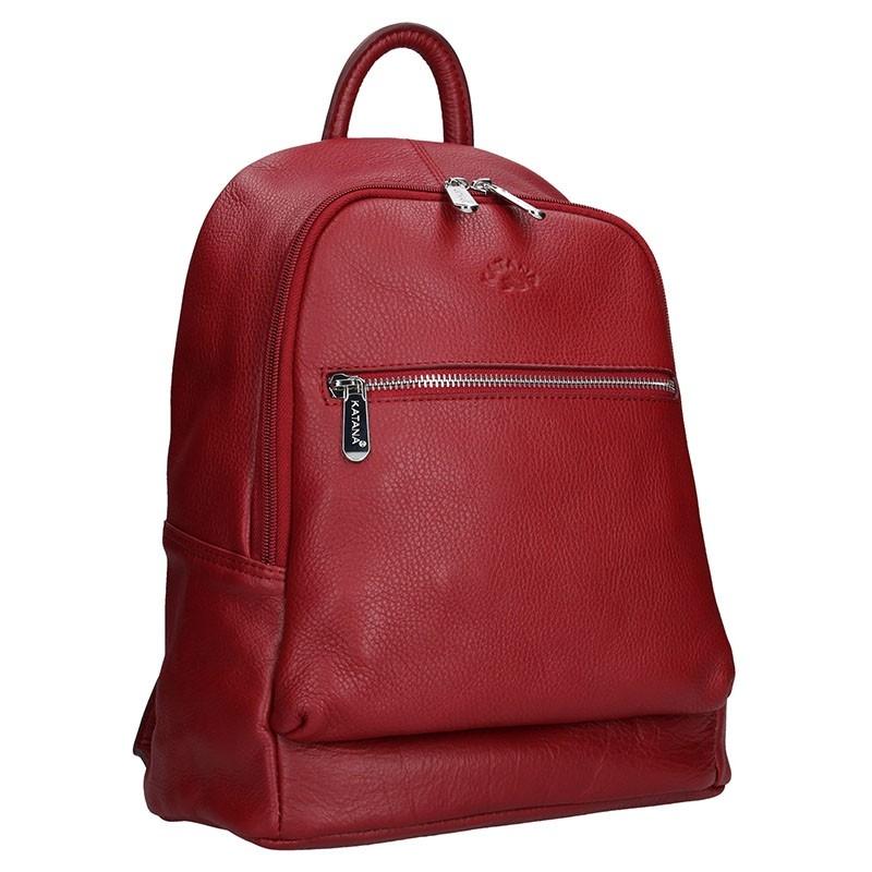 f2c68a0e6f9 Dámský kožený batoh Katana 83819 - červená - Glami.cz