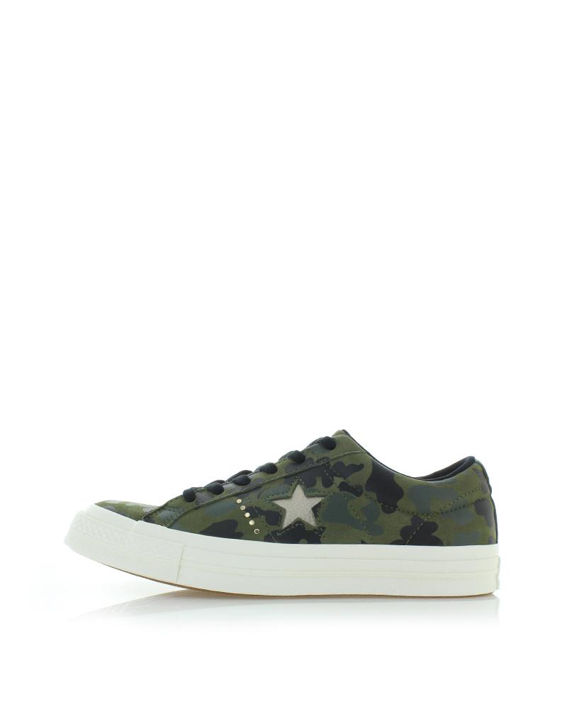 Converse Női sötétzöld alacsony szárú bőr tornacipő One Star Gold Camo. Converse  Női sötétzöld alacsony szárú ... b49311d512