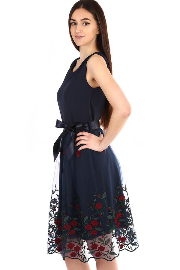 28d1c1232e1 YooY Áčkové večerní šaty s vyšívanou sukní z tylu (tmavě modrá