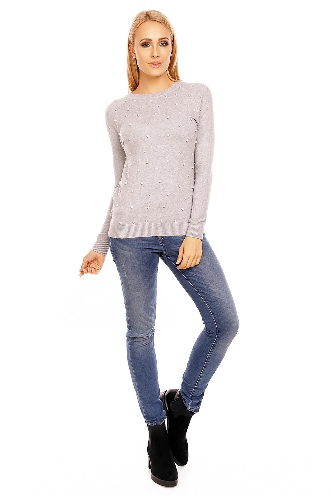 Moderní pletený svetr s perličkami - šedý - Glami.cz 54ef78db23