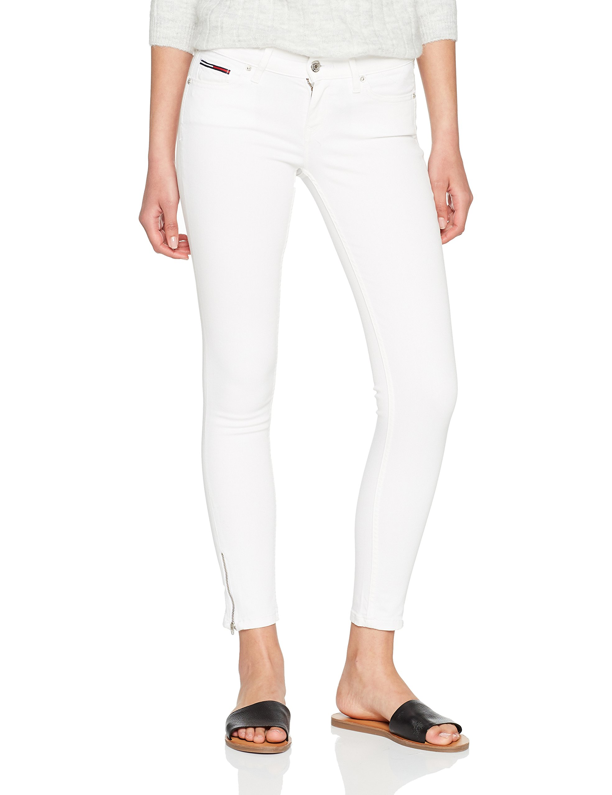 ca08d521c2bf1 Tommy Jeans Mid Rise Skinny Nora 7 8 Zip Icwhst - Jean Skinny Femme - Blanc  (Iceland White Stretch 911) - W25 L30