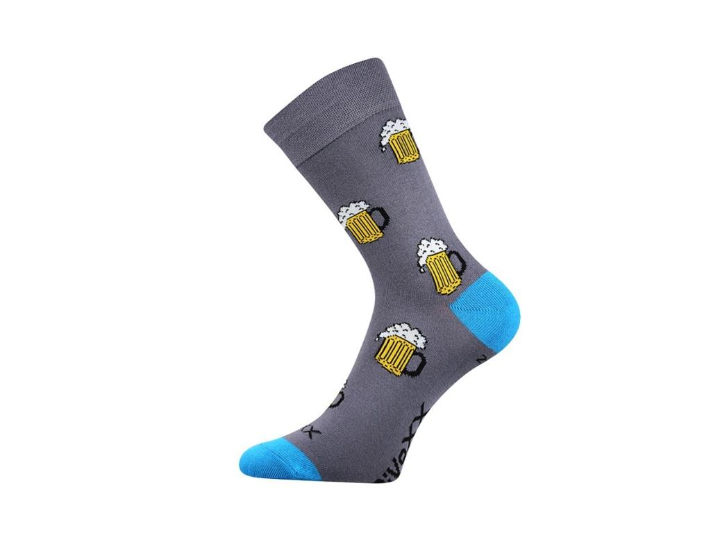 Lonka Tmavě šedé pánské ponožky PIVO - Glami.cz 60cf09d2cf
