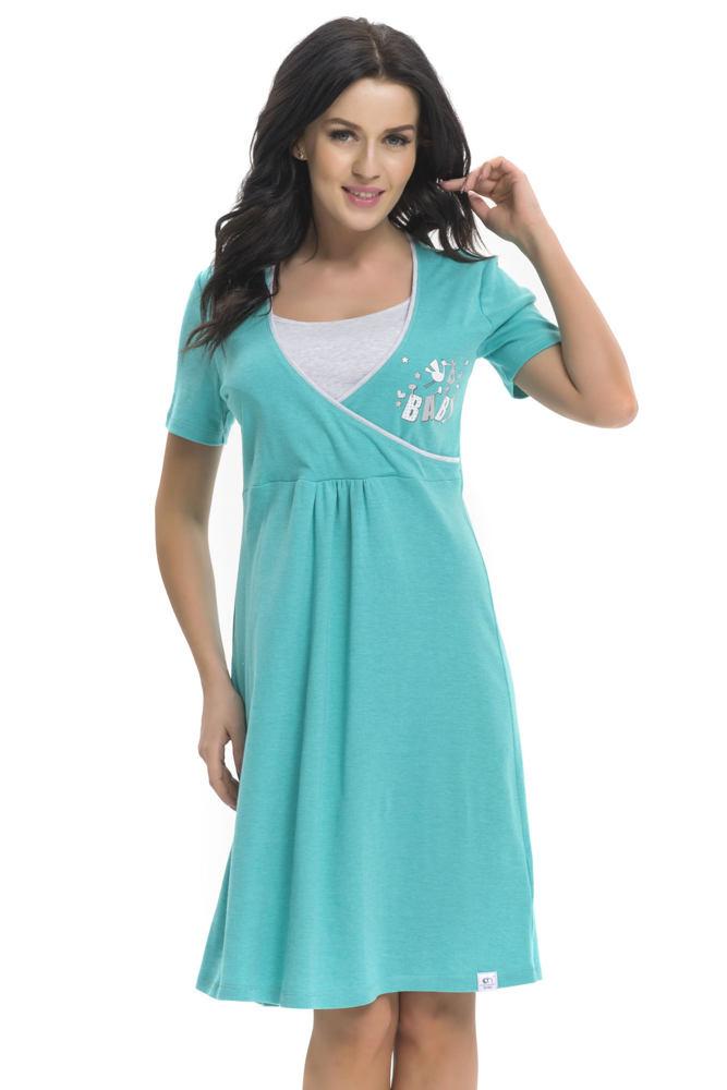 fb1908232e10 ... Bavlnená tehotenská a dojčiaca nočná košeľa Baby zelená XL. -10%. DN ...