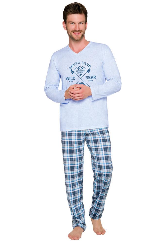 06b3ee0d6c11 Taro Pánske dlhé pyžamo Artur s podtlačou nohavice vzor káro modré ...