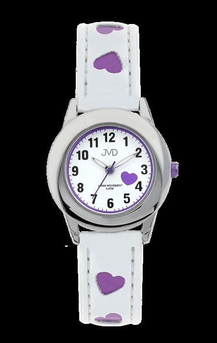 Dětské náramkové hodinky JVD basic J7125.2 s fialovými srdíčky ... 44be63e6f6