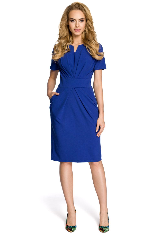 bd0fa79fe Dámske modré šaty s krátkym rukávom MOE234 L - Glami.sk