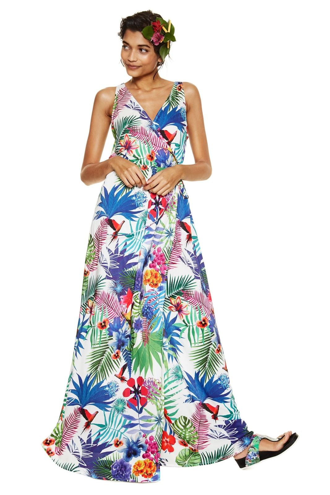 Desigual farebné šaty Jasmine s tropickými motívmi - Glami.sk 3f55f05d087