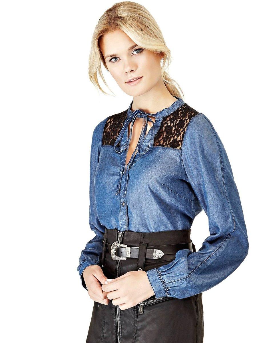d4c96eedba1b Guess dámska džínsová košeľa s čipkou - Glami.sk