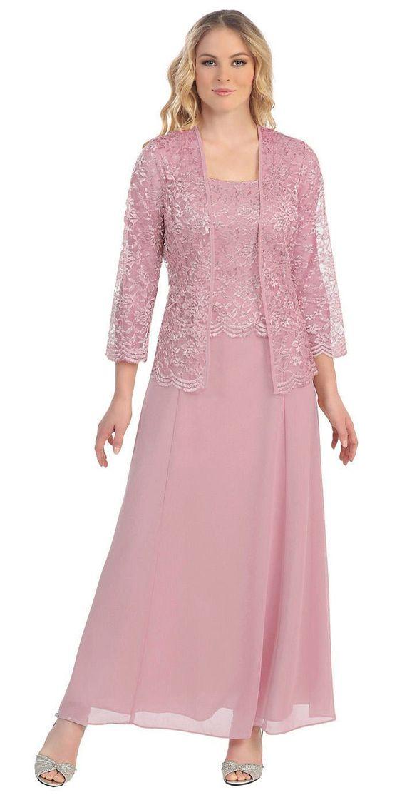 Glamor Ružové dlhé spoločenské šaty s čipkovaným kabátikom - Glami.sk cfc95162b78