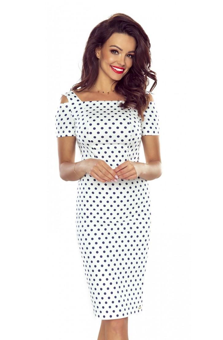 c41815b4de7 LAFIRA Dámské bílé puntíkové šaty B85-02 - Glami.cz