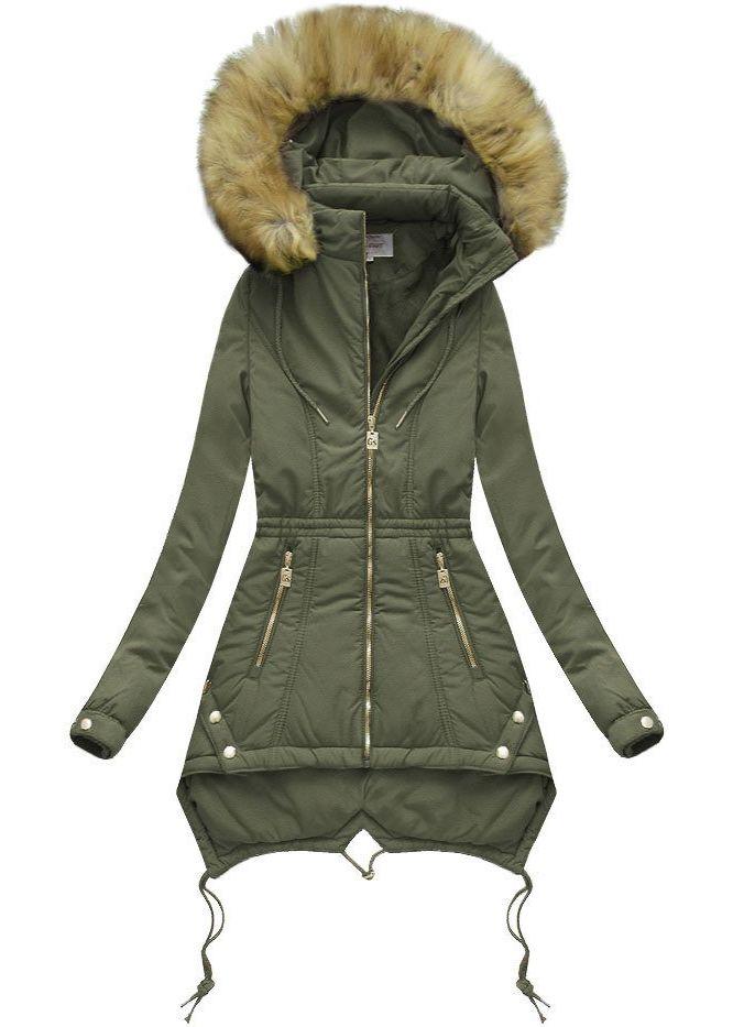 The SHE Khaki zelená dámska bunda s kožušinou - Glami.sk fbb066aa5e0