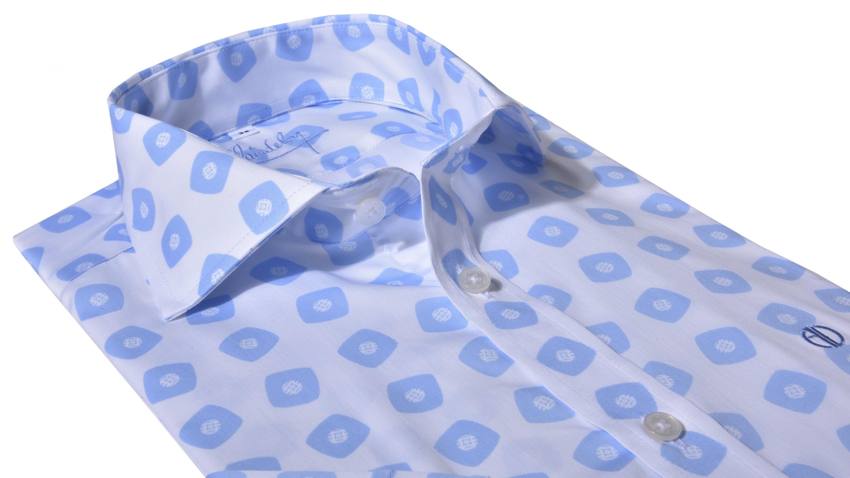 47dcf7fba68c Alain Delon Bielo - modrá výrazná Extra Slim Fit košeľa s krátkym rukávom