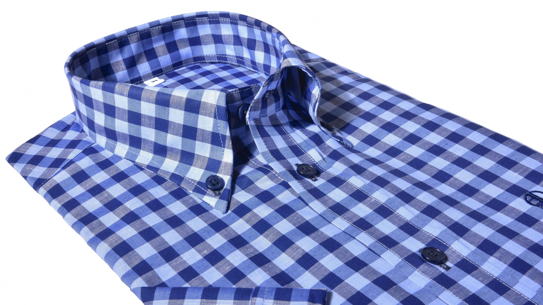 a0b10bcb0c35 Alain Delon Modrá károvaná Slim Fit košeľa s krátkym rukávom - Glami.sk