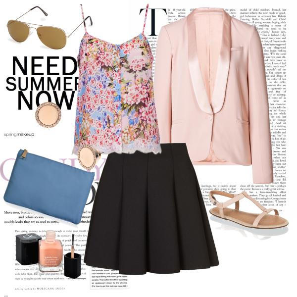 Summer in black skirt