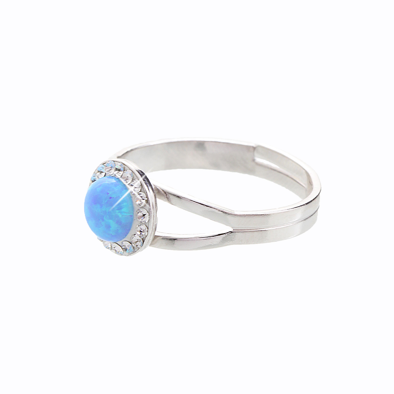 ArtCrystal Stříbrný prsten s opálem a křišťálky Swarovski components Opal  Round II. f80c0628253