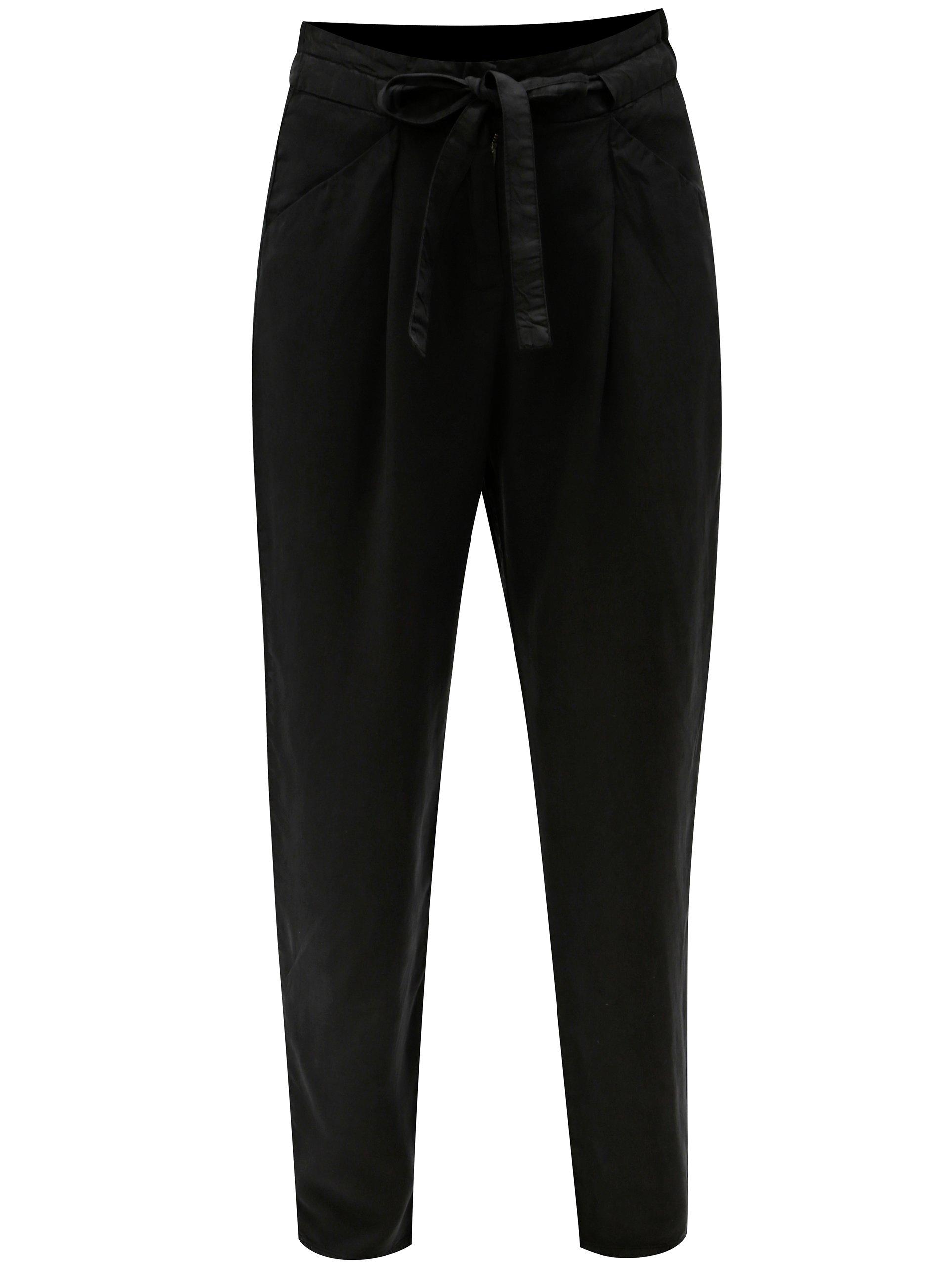 Černé volné kalhoty se zavazováním VERO MODA Breeze - Glami.cz c60c7c69ae