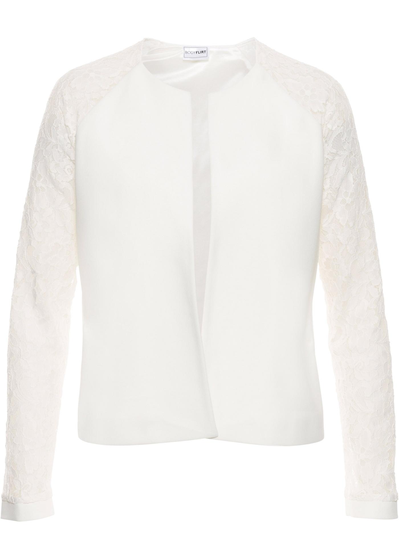 BODYFLIRT Bonprix - Veste avec manches en dentelle blanc pour femme ... 984af81e65ad