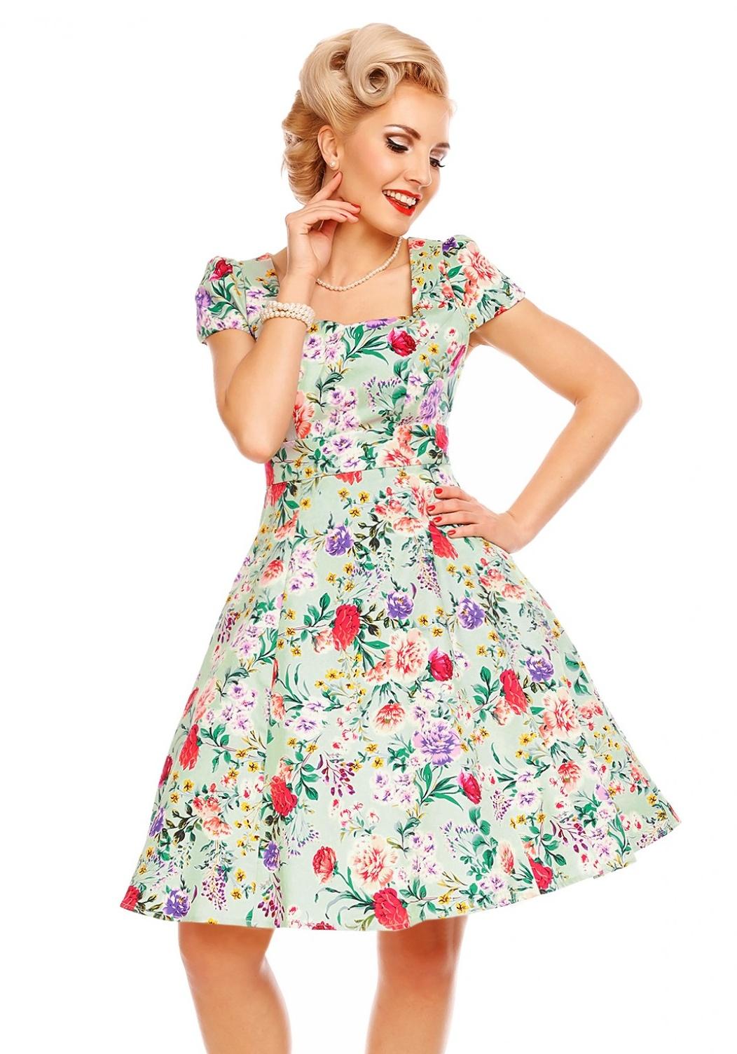 ddcf09916439 DOLLY AND DOTTY Dámské retro šaty Claudia mentolové s květinami ...