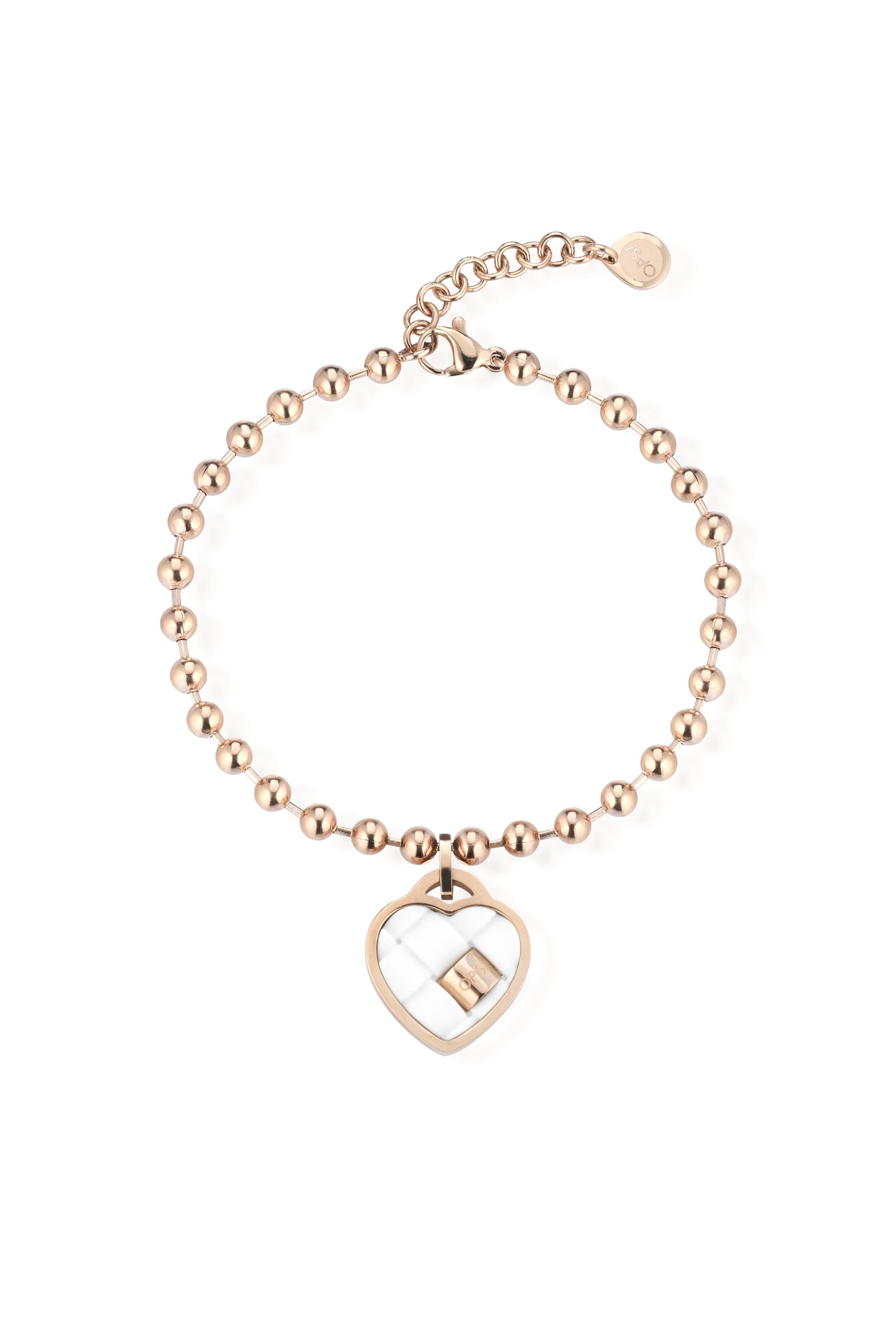 Ops! Objects bronzový náramok Ops! Twist Heart Bianco - Glami.sk b9518a1ab2b