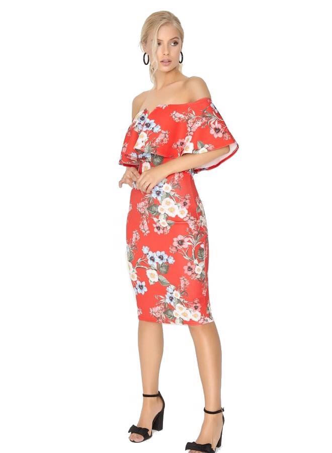 LITTLE MISTRESS Červené bodycon midi šaty s květinovým vzorem a ... b1d8eace90