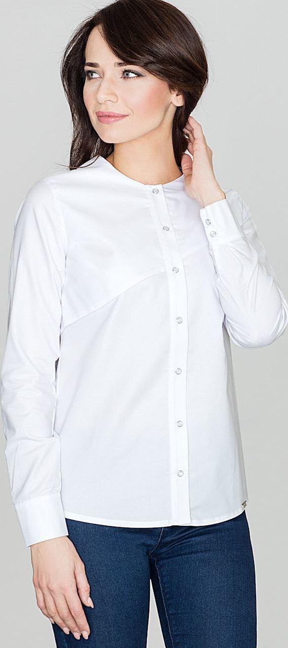 65a026a13446 LENITIF Dámska biela košeľa bez goliera K391 - Glami.sk