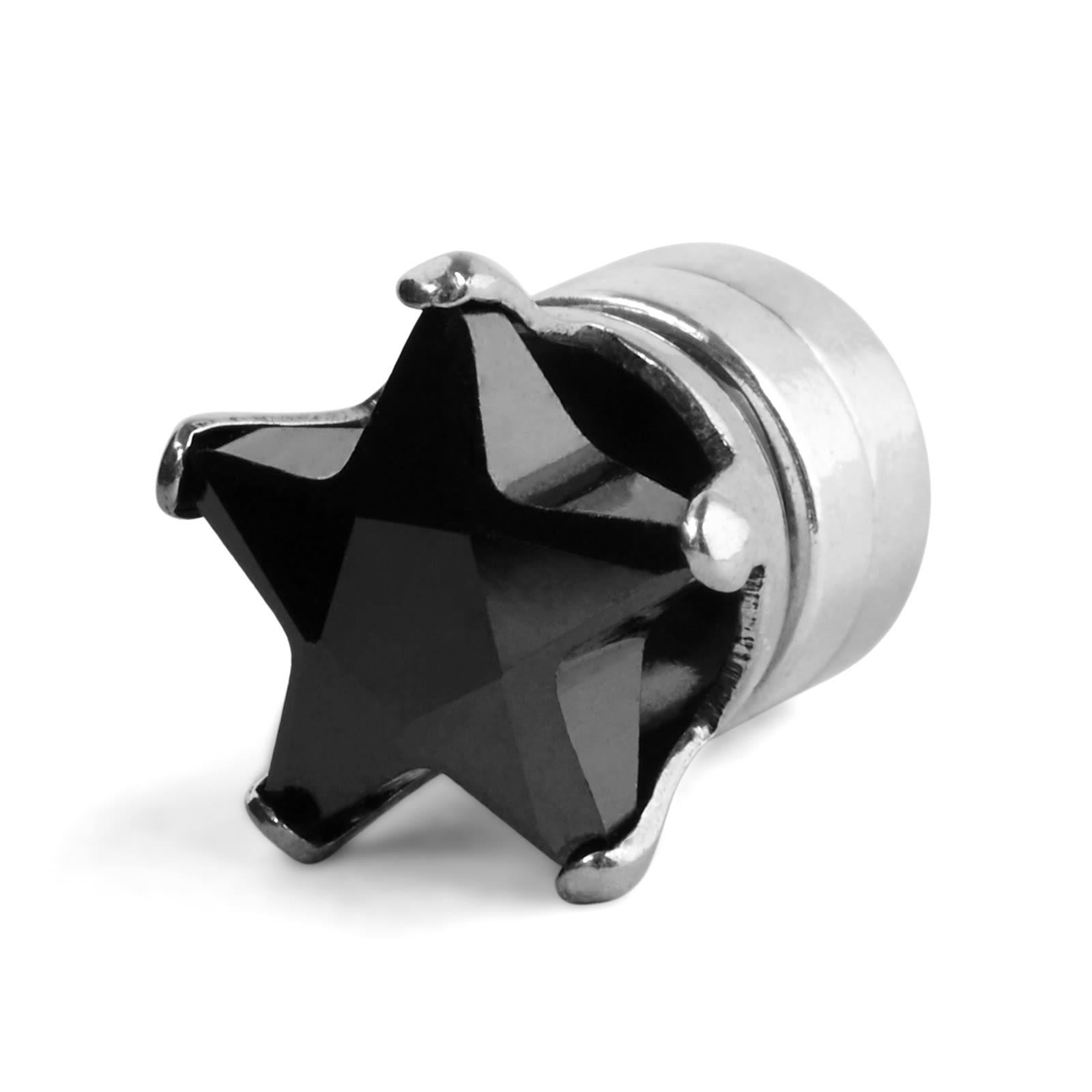 Trendhim 6 mm čierna kryštálová magnetická náušnica v tvare hviezdy ... e63901de3ad
