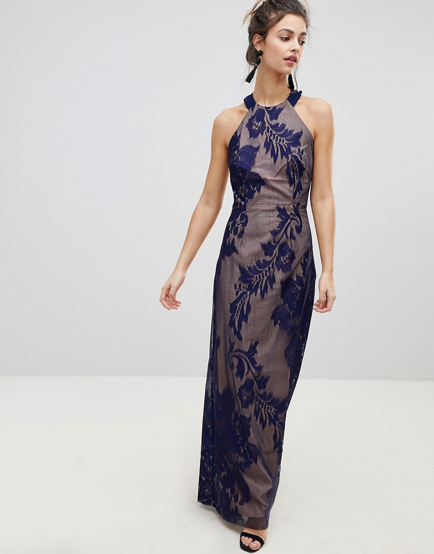 8a3bd45797 Little Mistress embellished high neck maxi dress - Navy - Glami.cz