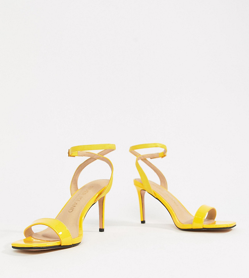 939555f5aa8 River Island Wide Fit heeled sandals - Yellow