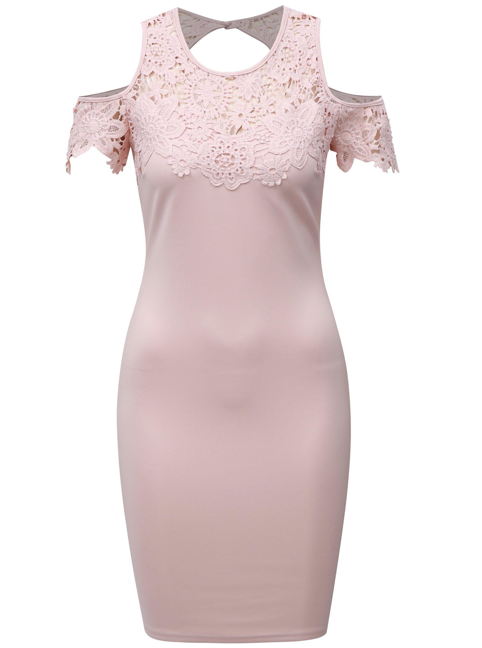6993a400efc7 Světle růžové pouzdrové šaty s krajkou a průstřihy na ramenou AX ...