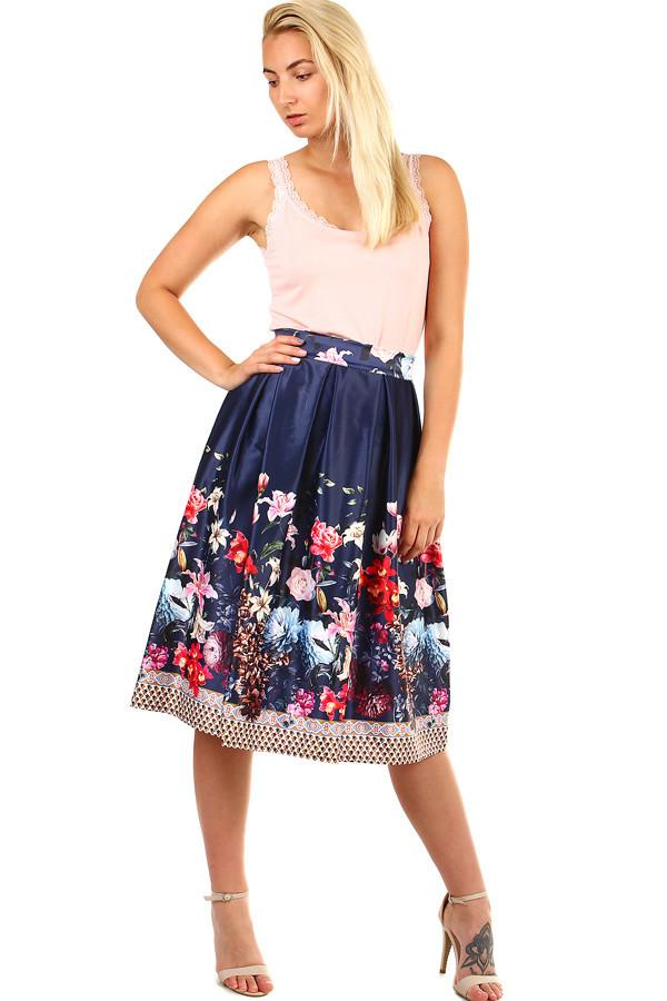 70ab18a34f4f Glara Dámska skladaná polokruhová retro sukňa s kvetinovou potlačou ...