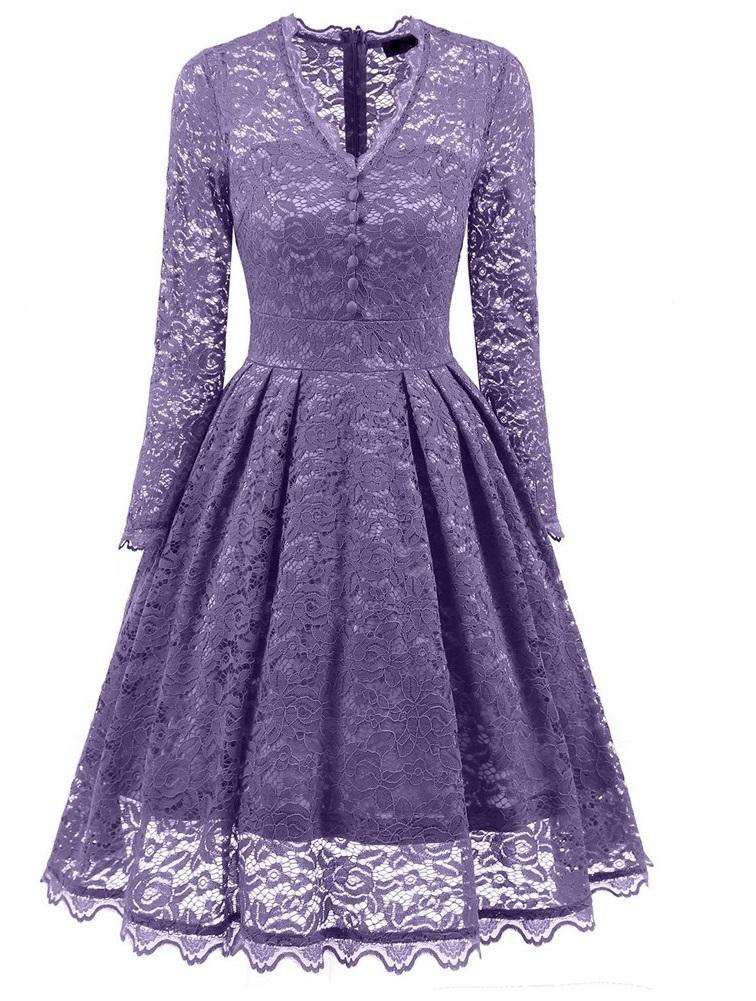 Dámské krajkové šaty Apiria fialové - fialová - Glami.cz e42ae1a7eb