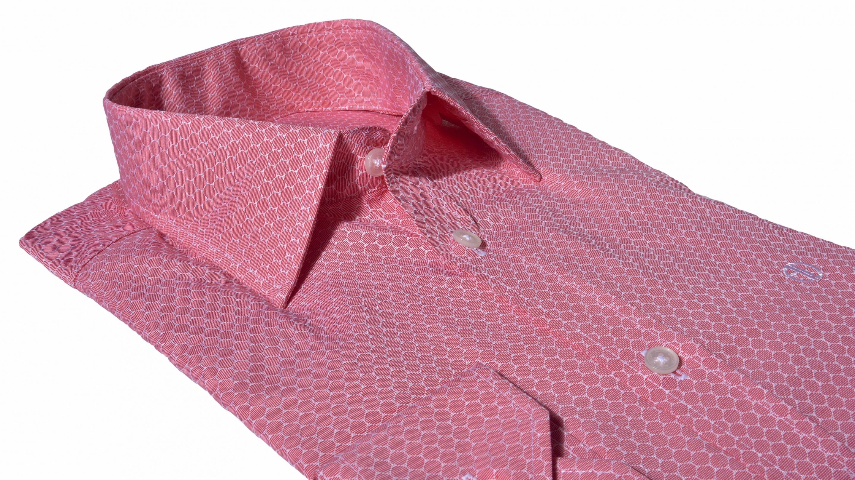 c4fbce46ae0a Alain Delon Voľnočasová červená Extra Slim Fit košeľa s printom ...