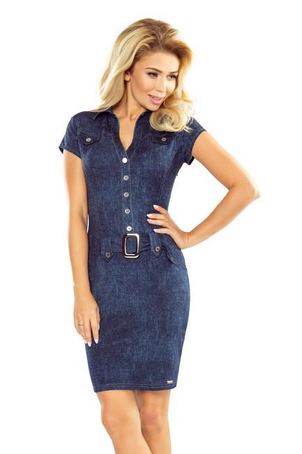 8408cc4d824f Numoco Dámske šaty s gombíkmi a opaskom vzor jeans 142 5 - Glami.sk