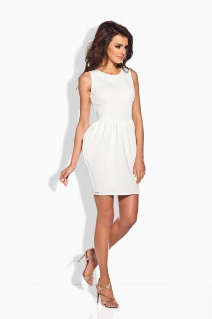 6c62f092b23e Lemoniade Elegantné biele nazberkané dámske šaty L141 - Glami.sk