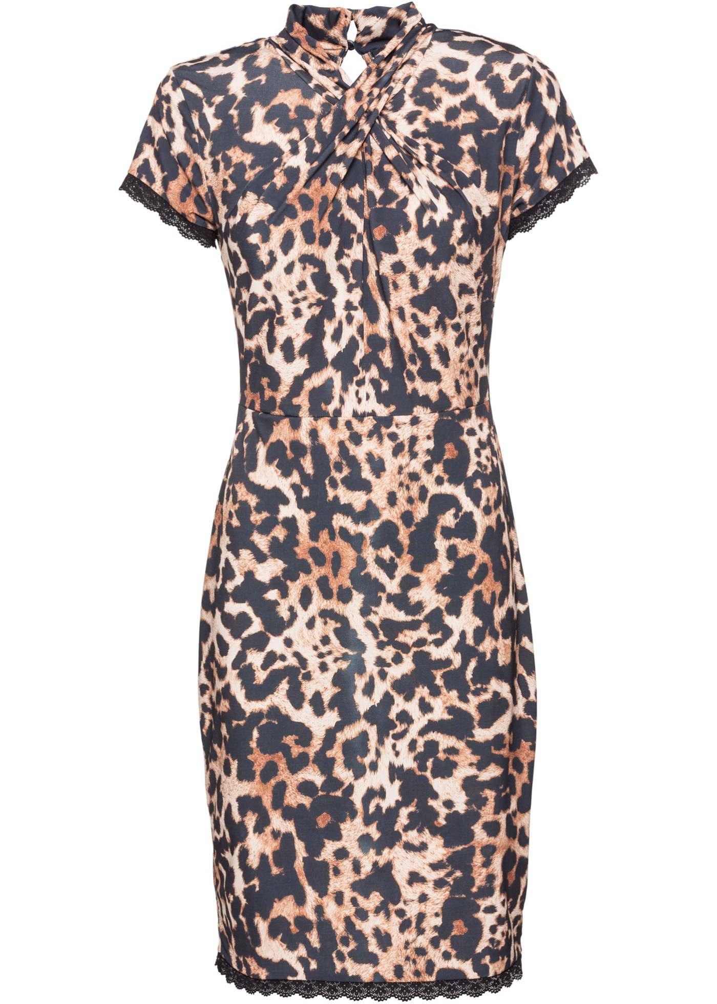 BODYFLIRT boutique Bonprix - robe d été Robe léopard à dentelle noir  manches courtes pour femme. New BODYFLIRT boutique Bonprix - robe ... 2debc87e53e0