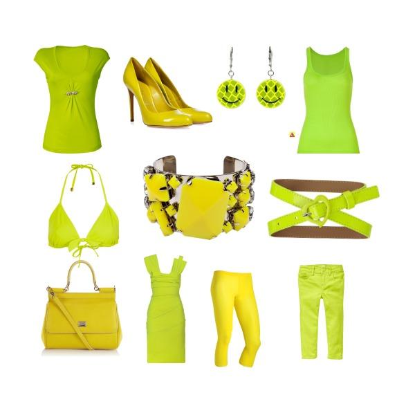 Žlutá a hráškově zelená